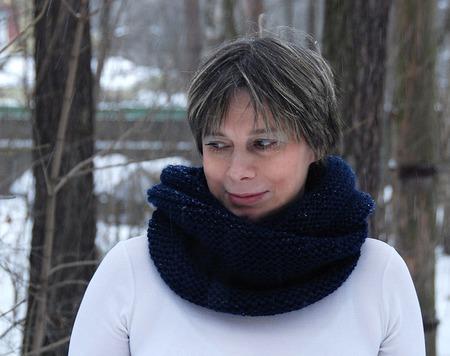 """Снуд-шарф темно-синий  """"Черное море"""" (шерсть) ручной работы на заказ"""