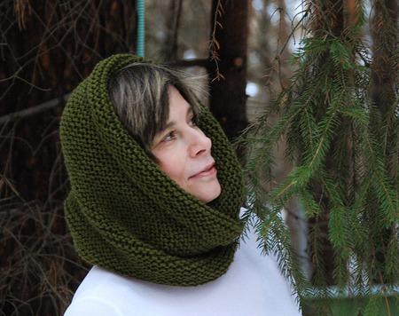 """Снуд-шарф    """"Оливковый"""" ( полушерсть) ручной работы на заказ"""