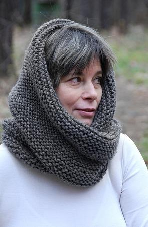 """Снуд-шарф темно-серый  """"Сумерки"""" (полушерсть) ручной работы на заказ"""