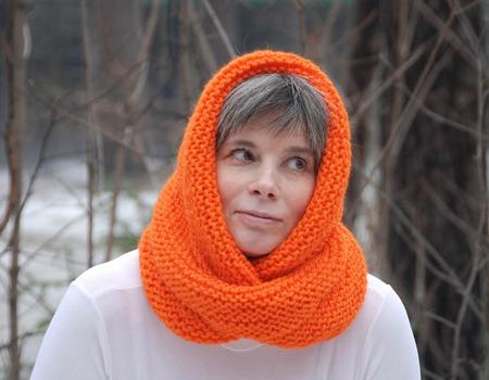 """Снуд-шарф """"Апельсиновое настроение""""  (полушерсть) ручной работы на заказ"""