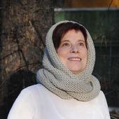 """Снуд-шарф светло-серый """"Первые заморозки"""" (шерсть)"""