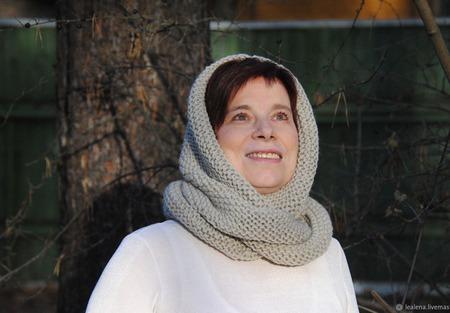 """Снуд-шарф светло-серый """"Первые заморозки"""" (шерсть) ручной работы на заказ"""