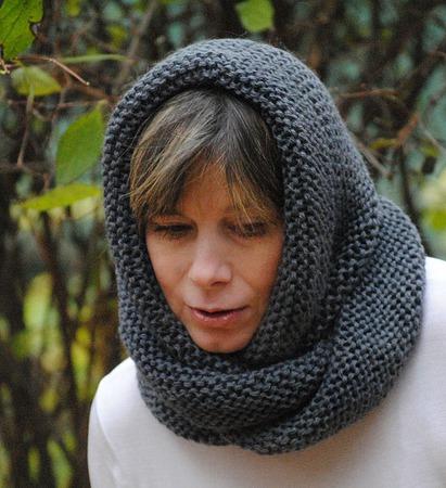 """Снуд-шарф  темно-серый  """"Тучка"""" (полушерсть) ручной работы на заказ"""