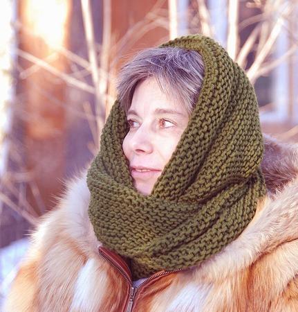 """Снуд-шарф """" Еловый"""" (полушерсть) ручной работы на заказ"""