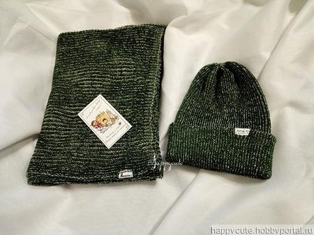 "Шапка энд шарф ""Зеленая миля"" ручной работы на заказ"