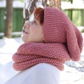 "Комплект ""Марсала"" шарф-снуд+шапочка бини"