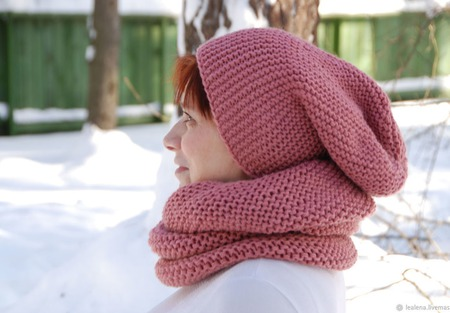 """Комплект """"Марсала"""" шарф-снуд+шапочка бини ручной работы на заказ"""