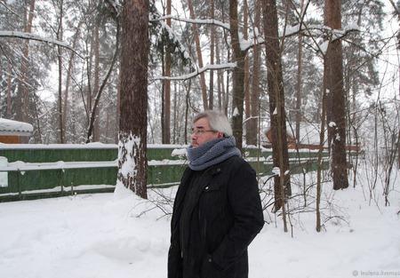 Мужской шарф-снуд серо-голубой (полушерсть) ручной работы на заказ