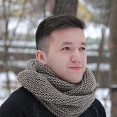 Мужской шарф-снуд  серо-бежевый (полушерсть)
