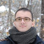 Мужской шарф-снуд черно-серый меланж  (полушерсть)