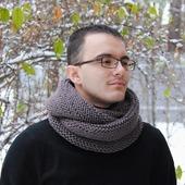 """Мужской шарф-снуд """"Венге"""" (полушерсть)"""