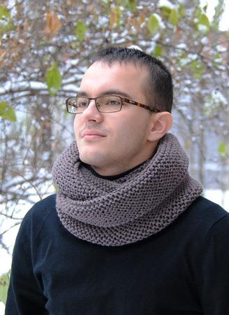 """Мужской шарф-снуд """"Венге"""" (полушерсть) ручной работы на заказ"""