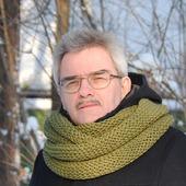 Мужской шарф-снуд цвета хаки  (полушерсть)