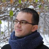 Мужской шарф-снуд темно-синий меланж (полушерсть)