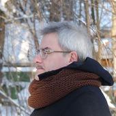 Мужской шарф-снуд коричневый (полушерсть)