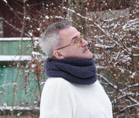 """Снуд-шарф мужской """"Графит"""" (шерсть) ручной работы на заказ"""