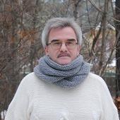 """Мужской шарф-снуд серый меланж """"Пепел"""" (полушерсть)"""