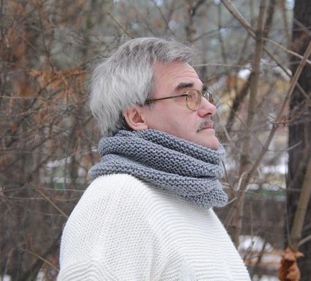 """Мужской шарф-снуд серый меланж """"Пепел"""" (полушерсть) ручной работы на заказ"""