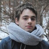 Мужской шарф-снуд светло-серый (полушерсть)