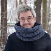 Мужской шарф-снуд темно-серый (полушерсть)