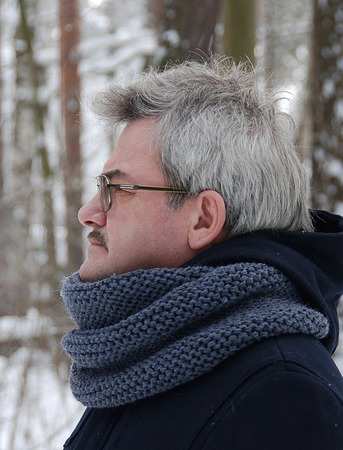 Мужской шарф-снуд темно-серый (полушерсть) ручной работы на заказ