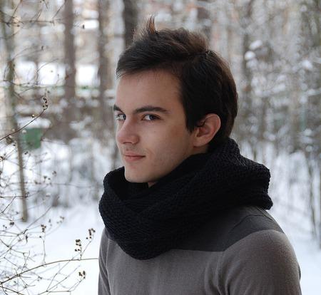 Мужской шарф-снуд черный (полушерсть) ручной работы на заказ