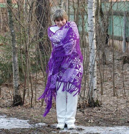 """Огромная шаль """"Этюд в фиалковых тонах"""" чистошерстяная ручной работы на заказ"""