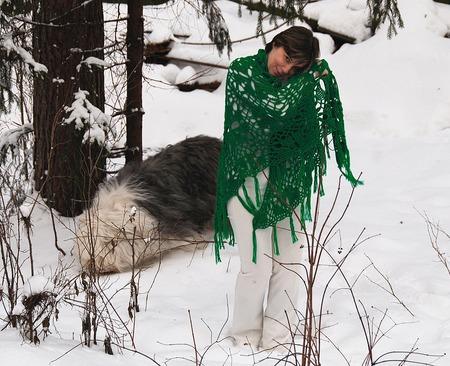 "Шаль ""Магия цвета"" полушерстяная цвета ""зеленая бирюза"" ручной работы на заказ"