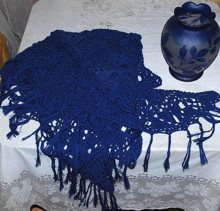 """Шаль синяя  """"Магия цвета""""  чистошерстяная ручной работы на заказ"""