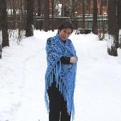 """Огромная шаль """"Чародейка"""" голубая из полушерсти"""