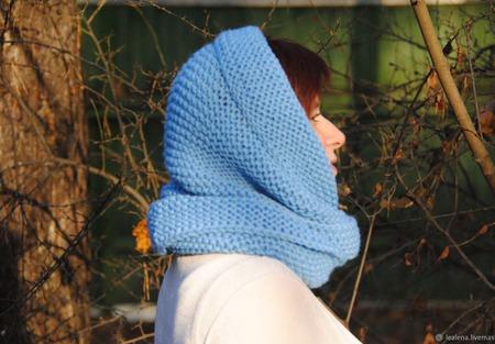 """Снуд-шарф """"Голубой ветер"""" (шерсть) ручной работы на заказ"""