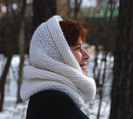 """Снуд- шарф белый """"Первый снег"""" (шерсть) ручной работы на заказ"""
