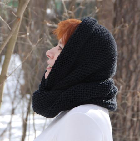 """Снуд- шарф чёрный """"Ночка"""" (полушерсть) ручной работы на заказ"""