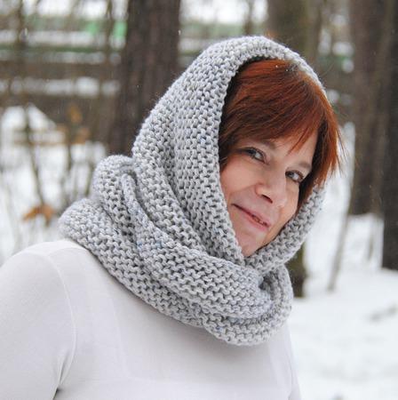 """Снуд-шарф серый меланж """"Метелица"""" ( толстая полушерсть) ручной работы на заказ"""