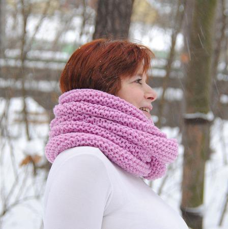 """Снуд-шарф  розово-сиреневый """"Аврора"""" (полушерсть) ручной работы на заказ"""