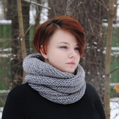 """Снуд-шарф серый меланжевый """"Муссон"""" (полушерсть)"""