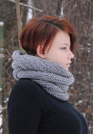 """Снуд-шарф серый меланжевый """"Муссон"""" (полушерсть) ручной работы на заказ"""