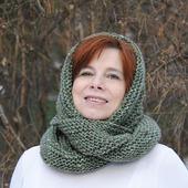 """Снуд-шарф зеленый меланжевый """"Шёпот леса"""" (полушерсть)"""
