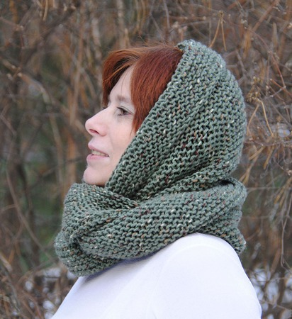 """Снуд-шарф зеленый меланжевый """"Шёпот леса"""" (полушерсть) ручной работы на заказ"""