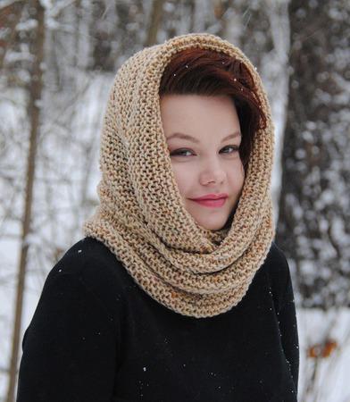 """Снуд-шарф бежевый меланжевый """"Пшеничный"""" (полушерсть) ручной работы на заказ"""