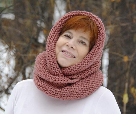 """Снуд-шарф  """"Марсала"""" (полушерсть) ручной работы на заказ"""