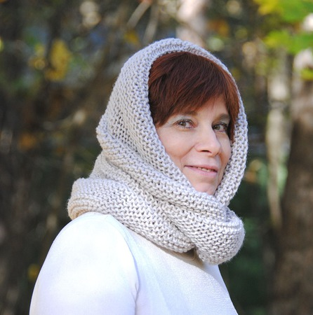 """Снуд-шарф  """"Античный лен"""" (полушерсть) ручной работы на заказ"""