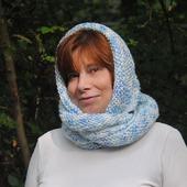 "Снуд-шарф  бело-голубой меланж ""Эмпирей"" (акрил)"