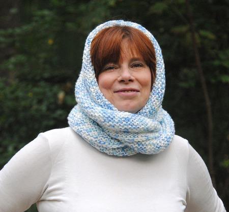 """Снуд-шарф  бело-голубой меланж """"Эмпирей"""" (акрил) ручной работы на заказ"""