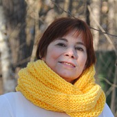 "Снуд-шарф ярко-желтый ""Мимоза""  ( полушерсть)"