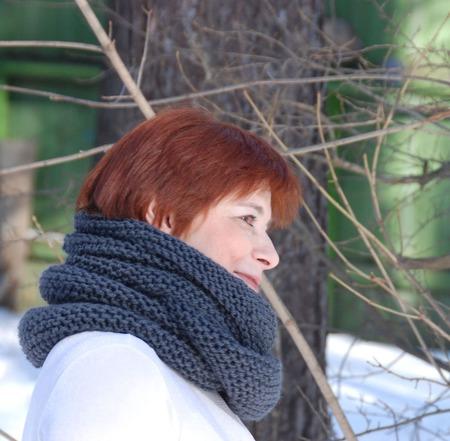 """Снуд-шарф т-серый """"Туманность"""" (шерсть) ручной работы на заказ"""