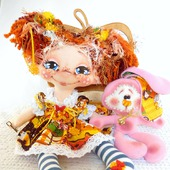 "Текстильная кукла ""Милая Зайка"" . Интерьерная кукла."