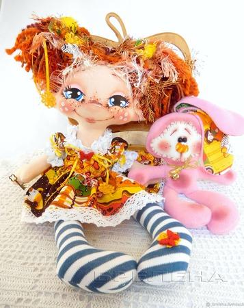 "Текстильная кукла ""Милая Зайка"" . Интерьерная кукла. ручной работы на заказ"