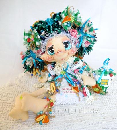 Домовушка Желанница Бирюзинка.Текстильная интерьерная кукла ручной работы на заказ