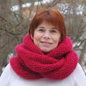 "Снуд-шарф малинового цвета  ""Зимняя вишня"" (мохер+акрил)"